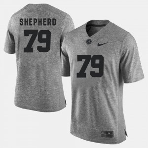 #79 Austin Shepherd Alabama Crimson Tide Men's Gridiron Limited Gridiron Gray Limited Jersey - Gray