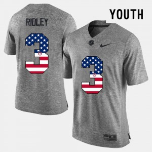 #3 Calvin Ridley Alabama Crimson Tide US Flag Fashion Youth(Kids) Jersey - Gray