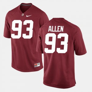 #93 Jonathan Allen Alabama Crimson Tide Mens Alumni Football Game Jersey - Crimson