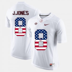#8 Julio Jones Alabama Crimson Tide US Flag Fashion Men's Jersey - White