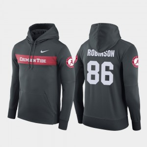 #86 A'Shawn Robinson Alabama Crimson Tide Football Performance Sideline Seismic For Men's Hoodie - Anthracite