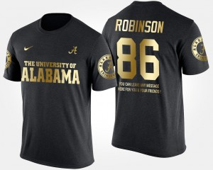 #86 A'Shawn Robinson Alabama Crimson Tide Men's Short Sleeve With Message Gold Limited T-Shirt - Black