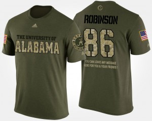 #86 A'Shawn Robinson Alabama Crimson Tide Military For Men Short Sleeve With Message T-Shirt - Camo