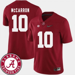 #10 AJ McCarron Alabama Crimson Tide College Football For Men's 2018 SEC Patch Jersey - Crimson