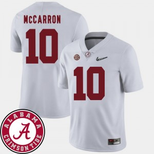 #10 AJ McCarron Alabama Crimson Tide For Men College Football 2018 SEC Patch Jersey - White