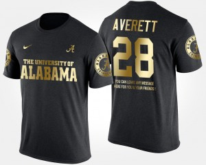 #28 Anthony Averett Alabama Crimson Tide Men Gold Limited Short Sleeve With Message T-Shirt - Black