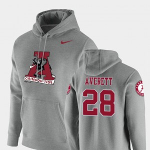 #28 Anthony Averett Alabama Crimson Tide Pullover Vault Logo Club For Men's Hoodie - Heathered Gray