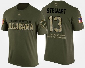 #13 ArDarius Stewart Alabama Crimson Tide Military For Men Short Sleeve With Message T-Shirt - Camo