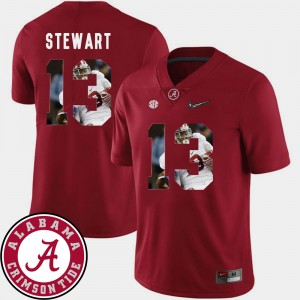 #13 ArDarius Stewart Alabama Crimson Tide For Men's Pictorial Fashion Football Jersey - Crimson