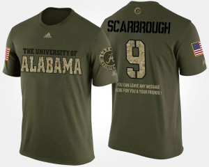 #9 Bo Scarbrough Alabama Crimson Tide For Men Military Short Sleeve With Message T-Shirt - Camo