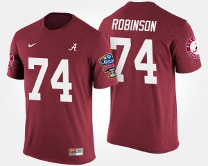 #74 Cam Robinson Alabama Crimson Tide Men Bowl Game Sugar Bowl T-Shirt - Crimson