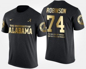 #74 Cam Robinson Alabama Crimson Tide Gold Limited Short Sleeve With Message For Men's T-Shirt - Black