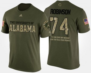 #74 Cam Robinson Alabama Crimson Tide Military For Men Short Sleeve With Message T-Shirt - Camo