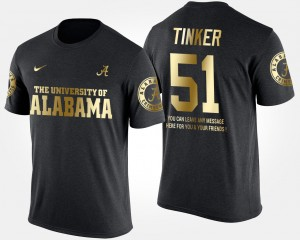 #51 Carson Tinker Alabama Crimson Tide Men Gold Limited Short Sleeve With Message T-Shirt - Black