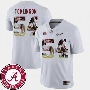 #54 Dalvin Tomlinson Alabama Crimson Tide Pictorial Fashion Mens Football Jersey - White