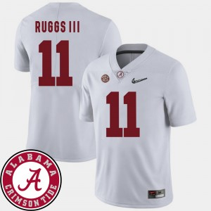 #11 Henry Ruggs III Alabama Crimson Tide College Football Mens 2018 SEC Patch Jersey - White