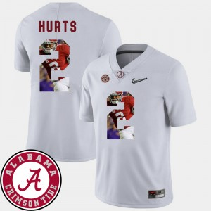 #2 Jalen Hurts Alabama Crimson Tide Pictorial Fashion Football For Men's Jersey - White