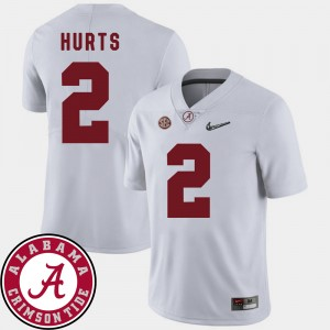 #2 Jalen Hurts Alabama Crimson Tide College Football 2018 SEC Patch For Men Jersey - White