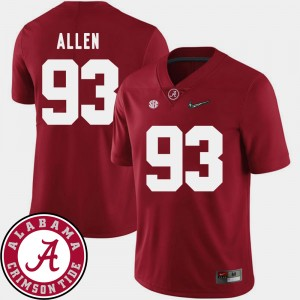 #93 Jonathan Allen Alabama Crimson Tide College Football Mens 2018 SEC Patch Jersey - Crimson