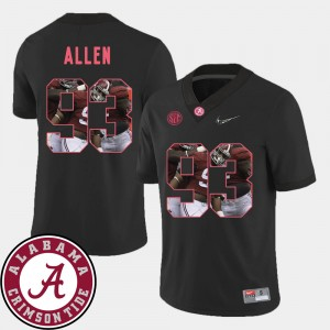 #93 Jonathan Allen Alabama Crimson Tide Pictorial Fashion For Men Football Jersey - Black