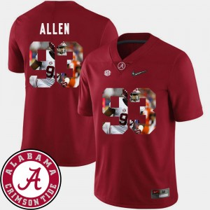 #93 Jonathan Allen Alabama Crimson Tide Pictorial Fashion Mens Football Jersey - Crimson