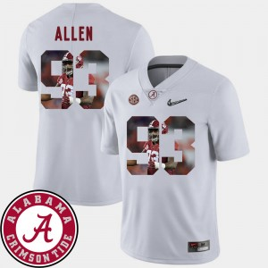 #93 Jonathan Allen Alabama Crimson Tide Pictorial Fashion For Men's Football Jersey - White