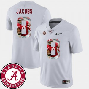 #8 Josh Jacobs Alabama Crimson Tide Pictorial Fashion Mens Football Jersey - White