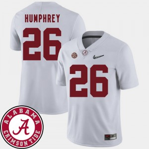 #26 Marlon Humphrey Alabama Crimson Tide College Football 2018 SEC Patch Men Jersey - White