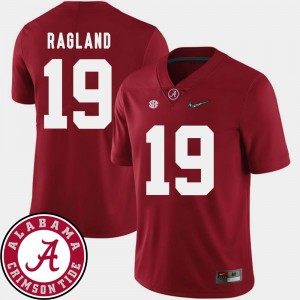 #19 Reggie Ragland Alabama Crimson Tide Men 2018 SEC Patch College Football Jersey - Crimson