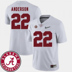 #22 Ryan Anderson Alabama Crimson Tide For Men's 2018 SEC Patch College Football Jersey - White