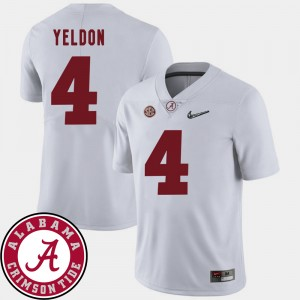 #4 T.J. Yeldon Alabama Crimson Tide For Men 2018 SEC Patch College Football Jersey - White