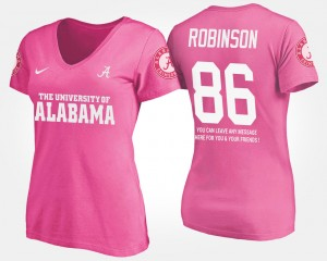 #86 A'Shawn Robinson Alabama Crimson Tide Women With Message T-Shirt - Pink