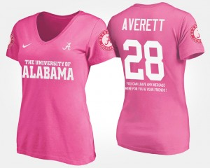 #28 Anthony Averett Alabama Crimson Tide With Message For Women T-Shirt - Pink