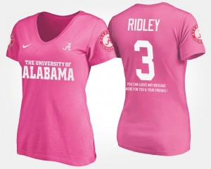 #3 Calvin Ridley Alabama Crimson Tide For Women's With Message T-Shirt - Pink