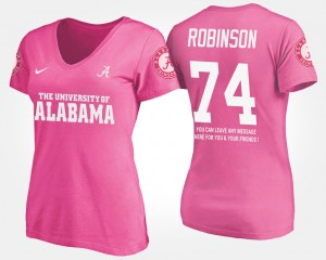 #74 Cam Robinson Alabama Crimson Tide With Message For Women's T-Shirt - Pink