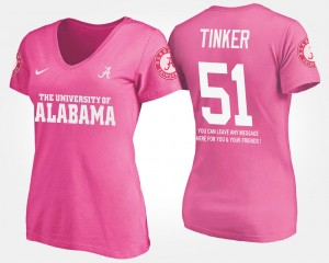 #51 Carson Tinker Alabama Crimson Tide With Message Womens T-Shirt - Pink