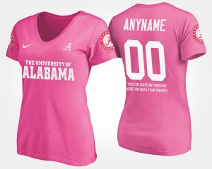 #00 Alabama Crimson Tide For Women's With Message Custom T-Shirt - Pink